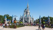 Walt Disney's Magic Kingdom theme park, showing the fairy tale castle, Orlando, Florida, USA